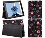 ITALKonline PADWEAR BLACK PINK FLOWERS Multi Function Multi Angle Luxury Executive Wallet Stand Cover Typing Case with Magnetic Sleep Wake Sensor Feature For Apple iPad 2 2nd Generation, 3 3rd Generation, 4 4th Generation (Wi-Fi and Wi-Fi + 3G) 16GB 32GB