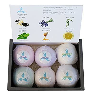 Large and Lush Luxury Bath Bombs; Set of 6 - 5.3oz (150g) Bombs - Extra Big - Gift Set For Weddings, Back to School, Birthdays, Teachers, Parents
