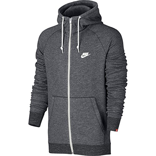 Nike Mens Sportswear Legacy Hooded Sweatshirt Carbon Heather/Sail 805057-091 Size Medium