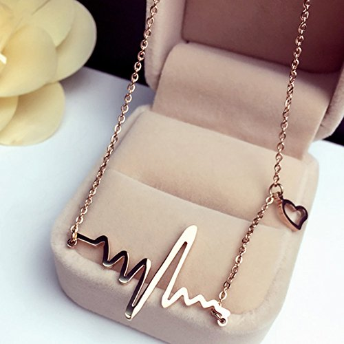 18k Gold Titanium Heartbeat Necklace Lifeline Valentine's Day Gift for Her or Him