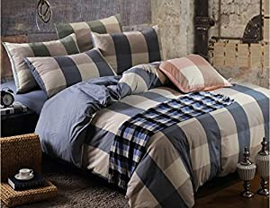 Norson Home Textiles, Health Super Soft Washed Cotton Bedding Sets, Simple Plaid Bedding 4pc Set / 5pc Set, Queen, Free Shipping, Do Not Fade (1, 5pcs with comforter)