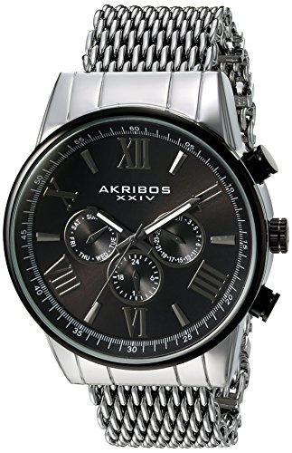 Akribos XXIV Men's Swiss Quartz Stainless Steel Automatic Watch, Color:Silver-Toned