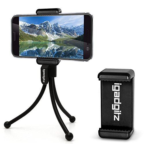 iGadgitz-Black-Flexible-Mini-Table-Top-Tripod-with-Pocket-Clip-Premium-Smartphone-Holder-Mount-Bracket-Adapter-for-HTC-10-One-X9-One-A9-One-M7-One-M8-One-M9-One-Mini-2-One-Mini-One-X9