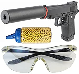 Les full metal Airsoft pistolet sertie de 500 balles de silencieux + lunettes