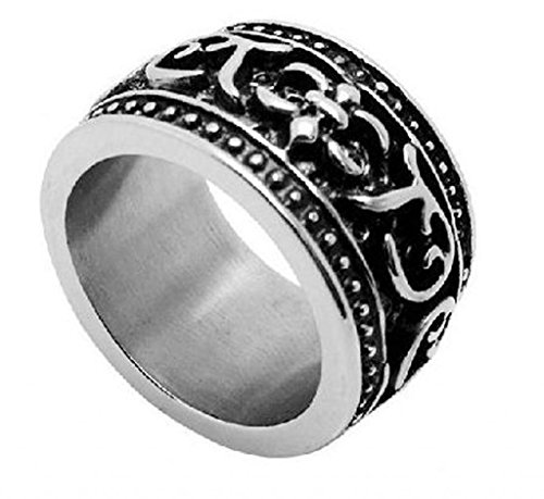Mens Stainless Steel Finger Rings Pattern Black 14Mm Size 12 - Adisaer Jewelry