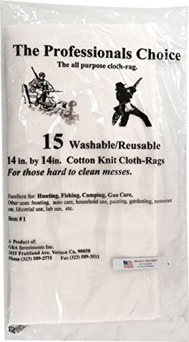 Review The Professional's Choice Pistol/Rifle Cotton Knit Gun Cleaning Cloth Rags (15-Pack), 14 x 14...