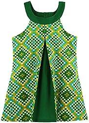 Oye Girls U-Neck Aline Dress - Green (4-5 Y)