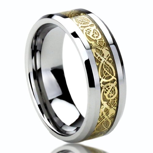 8MM Tungsten Comfort Fit Wedding Band Ring Gold Inlay Celtic Dragon Flat Ring ( Size 8 to 14)  Ring Size: 11 Picture