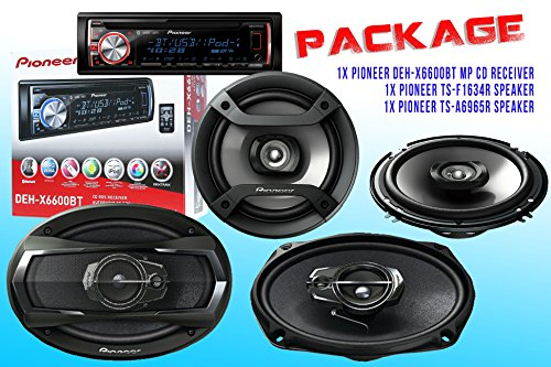 Package ! Pioneer Deh-X6600Bt Cd-Receiver + Pioneer Ts-A6965R Car Speaker + Pioneer Ts-F1634R Car Speakers