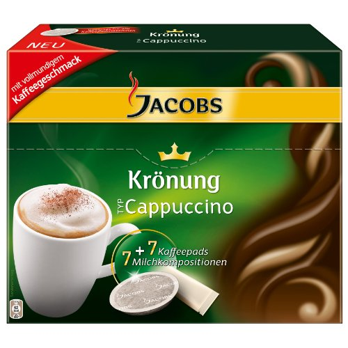 Get Jacobs Krönung Coffee Pods Cappuccino, 7 Coffee Pods + Topping - Kraft Foods