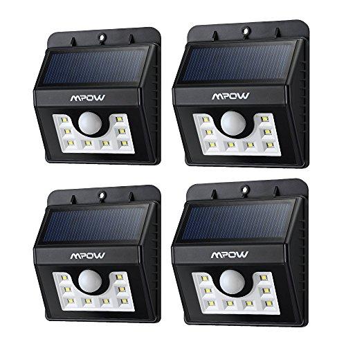 Mpow Luci Solari Lampada Wireless ad Energia Solare da Esterno con 8 Lampadine LED con Sensore di Movimento, per Parete / Giardino / Cortile / Scale / Muro, con Funzione di Dusk to Dawn Dark Sensing Auto On / Off [4 Pezzi]