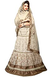 Jiya Presents Embroidered Net Lehenga Choli(Cream)