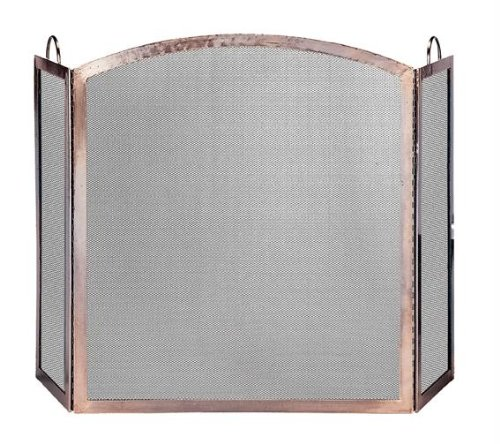 Exclusive By UniFlame 3 Panel Antique Copper Screen With Arched Center Panel 45 screen panel kit