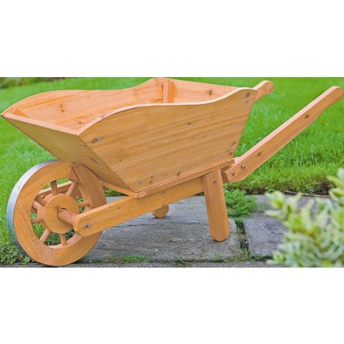 Wooden Wheelbarrow with Advanced Windup 4 LED Outdoor Lantern