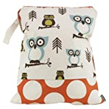 Logan + Lenora Classic Wet Bag - Medium Cloth Diaper Wet Bag - Beach, Pool, Gym Bag for Swimsuits or Wet Clothes - Made in USA -Waterproof (Earthy Owls)