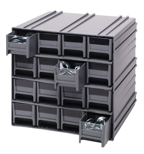 Storage Cabinet Interlocking Gray 11 x 11 x 11 with 16 IDR201 IVORY Drawers
