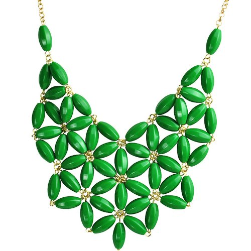 Green Necklace, Bib Necklace, Chunky Necklace, Statement Necklace (Fn0511) (D)