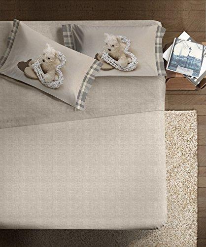 Ipersan Completo Fotografico Fine-Art, Disegno Mon Coeur, 1 Piazza 1/2, Cotone, Beige/Bianco