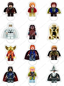 Cakeshop 12 x PRE-CUT Lego Lord of the Rings / The Hobbit Stand Up Edible Cake Toppers - Premium Wafer Paper
