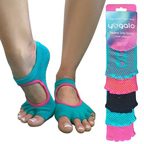 Toeless Yoga Pilates Barre Grip Socks, Non Slip, Non Skid, Half-toe Sock, 1 Pair, Women Men