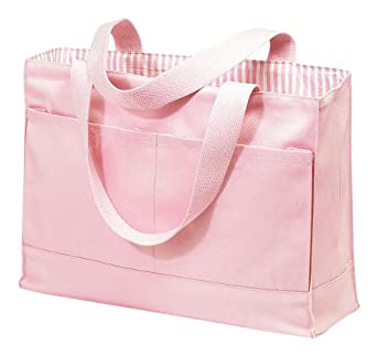 Double Pocket Canvas Tote (One Size, Pink)