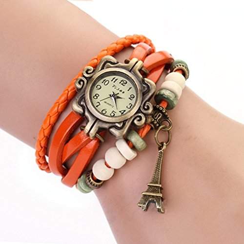 Fashion Vintage Women'S Eiffel Tower Decoration Leather Bracelet Quartz Watch (Orange)