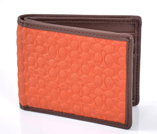 Coach   Coach 74682 Camden Canvas Voyager Signature Slim Billfold Wallet Orange