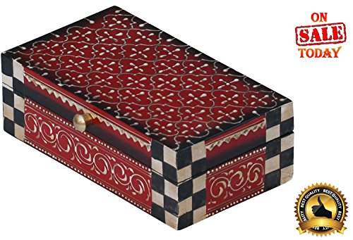 Handmade Treasure Chest *Best DealsToday* Red wooden Trinket keepsake Decorative jewelry Box from India