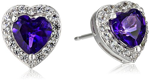 Sterling-Silver-Birthstone-Halo-Heart-Stud-Earrings
