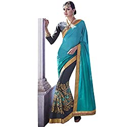 Vasu Saree Phenomenal Turquoise Patch Border Work Designer Saree