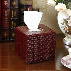 YSYT Deal Euro PU Leather lovely creative Diamond Pattern Squared tissue box holder-Dark Red
