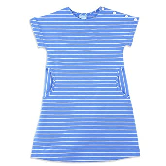 Chez Ami by Patsy Aiken Designs Girls Knit Button Shoulder Dress Blue & White Stripe - Size 8