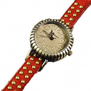 P&o Vintage Girls Students Trendy Bead Studded Genuine Leather Slim Band Bracelet Wrist Watch Red