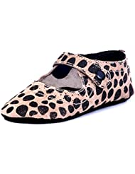 Beanz Catty Beige/Black Dot Print Leather Pram Shoes For Girls Size 18 EU