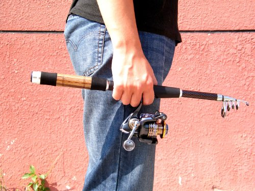 1X 2.1M/ 6.88Ft 6 Section Telescopic Telescope Carbon Spinning Fishing Rod