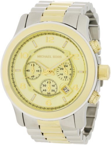 Michael Kors Fashion Men's Quartz Watch with Gold Dial Chronograph Display and Silver Stainless Steel Strap MK8098