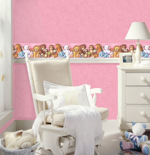 York Wallcoverings Friends Forever JE3527BD Cuddle Time Stuffed Animal Pre-pasted Wallpaper Border, Pink