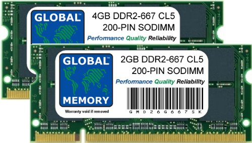 6GB (4GB + 2GB) DDR2 667MHz PC2-5300 200-PIN SODIMM ARBEITSSPEICHER RAM KIT FÜR MACBOOK (ENDE 2007 - ANFANG/ENDE 2008 - ANFANG 2009) & MACBOOK PRO (MITTE/ENDE 2007 - ANFANG 2008)