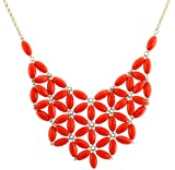 Chunky Cluster Party Statement Necklace - Orange (Jcn20)