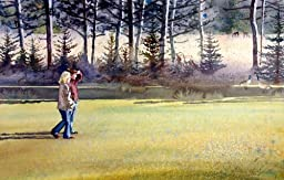 A Walk in Nature, Giclee Print of Watercolor Landscape Showing Two Girls Looking At Wildlife in Maine, 14 X 21 Inches