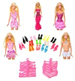 Milly's Shop - Conjunto para Barbie con vestidos, zapatos y perchas