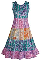 Women's Summer Floral Colorful Cotton Sleeveless Dress
