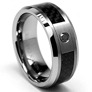 8MM Tungsten Carbide W/ BLACK DIAMOND .050 Carat Wedding Band Ring With Carbon Fiber Inlay Size 7.5