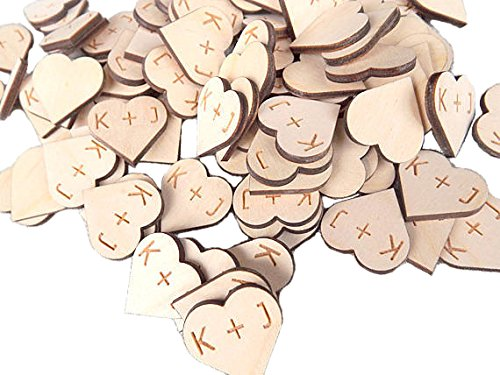 Wedding Collectibles 100 pieces Rustic Wooden Hearts With Personalized Initials 1 Inch DIY Craft Wedding Decor Table Confetti Wood Hearts (1 Inch Wood Hearts compare prices)