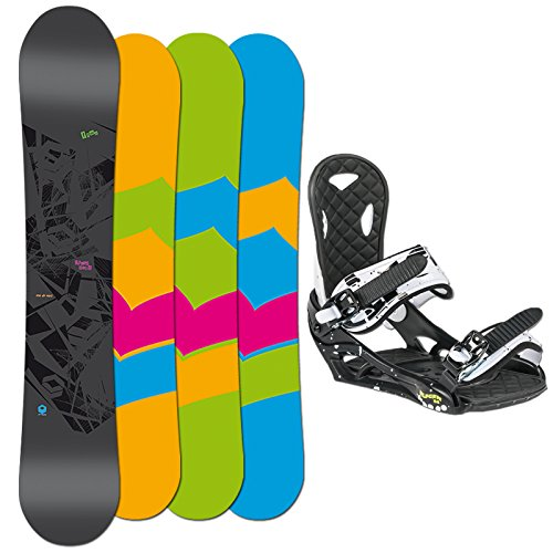 FTWO Freeride Snowboard SET BLACKDECK 157cm + Eco Bindung blk/wht
