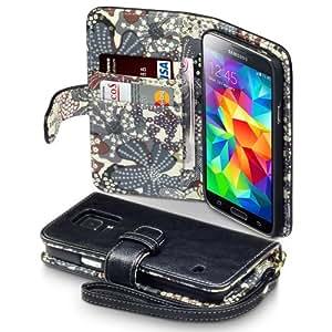Terrapin Handy Deluxe Leder Brieftasche Case Hülle mit Kartenfächer für Samsung Galaxy S5 Schwarz mit Blumen Interior