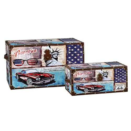 Household Essentials Decorative Storage Trunk, Classic Americana Vintage Car Design, Set of 2