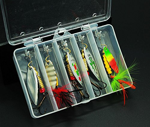 Tbuymax 10pcs fishing lure spinners bass trout hard for Bass fishing kit
