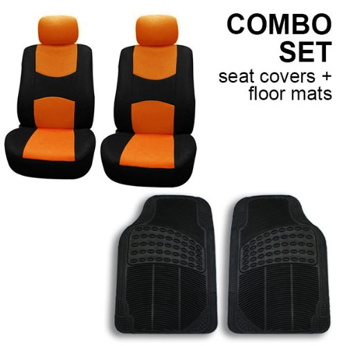FH GROUP FH-FB050102 + V16404FRONT: Orange Modern Flat Cloth Bucket Seat Covers and Black Vinyl Front Floor Mats (Tall Bucket Seat Covers compare prices)
