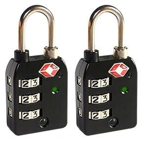 Leovar Lot de 2 cadenas avec combinaison à 3chiffres Noir